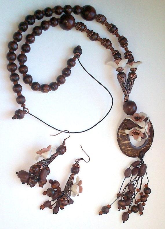 Coffee jewelry - Almond - Handmade necklace earrings set