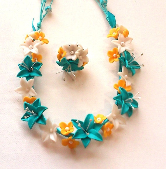 Turquoise jewelry- Lily jewelry set- Turquoise fimo flower necklace and ring