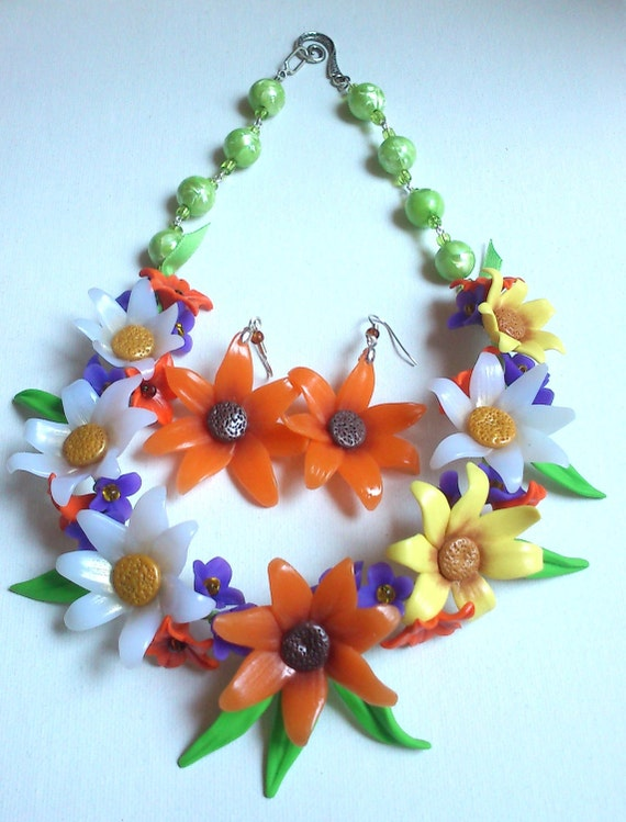 Colourful necklace and earrings- Marigold flower- Polymer clay jewellery