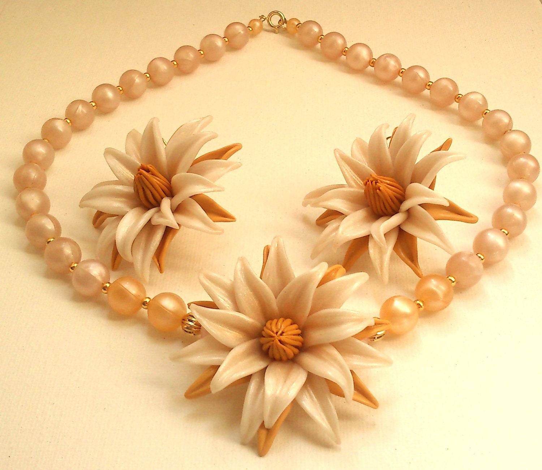 Flower jewelry set Pearl jewelry Polymer flower Handmade