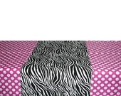 "44"" X 90"" Rectangle Minnie Mouse Pink with White Polka Dot Birthday Party Table Cloth with Zebra print 14"" X 44"" material Runner"