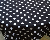 "60"" SQUARE Mickey Mouse Black with White Polka Dots Table Cloth Only"