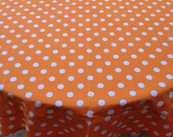"""60"""" Sesame Street Orange With White Polka Dot Round Table Cloth"""