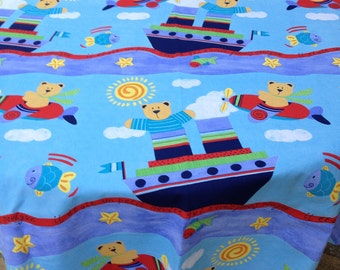 """SALE SALE 60"""" Bear in a Boat Round Table Cloth Only"""