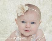 READY TO SHIP, Size 6-12 months - Ivory Baby Headband - Tan - Hydrangea Flower with Swarovski Crystals - Skinny Elastic Headband