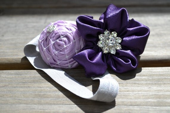 Purple Baby Headband - Rosette - Fold Over Elastic - Baby Girl - Infant - Newborn - Adult - Photo Prop - DOUBLE Flower Headband