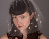 100% Silk Tulle Wedding Veil with Tiny Hand-Sewn Silk Flowers & Swarovski Crystals - Blusher - Bridal - Spring or Summer Wedding