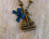 FREE SHIPPING // Sail Away With Me.  Antique Bronze/Brass Vintage Sail Boat Charm and Bow Bracelet.