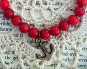 FREE SHIPPING // Dyed Bamboo Coral Red Nautical Antique Bronze Anchor Charm Bracelet.