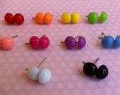 5. Set of five round post back earring studs.