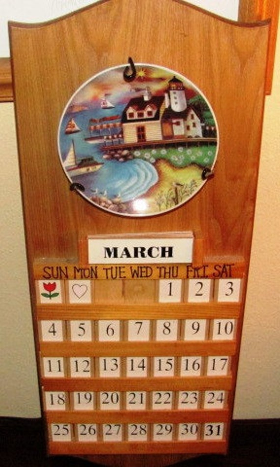 Wood wall calendar - Wooden perpetual wall calendar ...