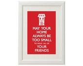 Housewarming / Wedding Gift - Inspirational Irish Quote -Typographical Print - A4