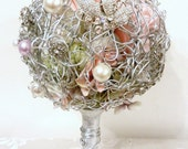 Mimosa Fleur- Handmade Wedding Bouquet , Silver & Pink Bling Bling Brooch Bouquet
