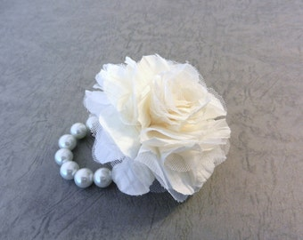 Wrist Corsage, Off White Fabric Flower on Ivory Pearl bracelet, Fabric Rose Corsage