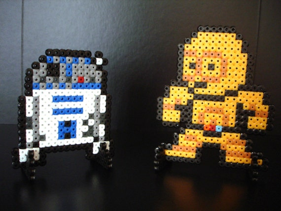Star Wars Megaman-like Cast figures made of plastic beads. R2-D2 & C-3PO