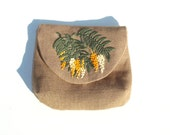 Embroidered Purse // Yellow White Floral Purse // Brown Linen Purse // Summer Purse // 25% off