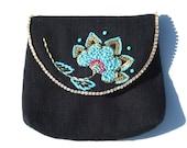 Black Purse // SHOP SALE 25% off // Floral Purse Pouch // Hand Embroidered Purse
