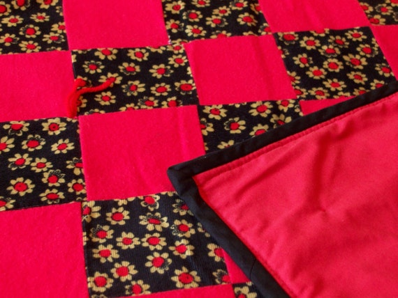 brand new, handmade red and black patchwork quilt 62 X 50