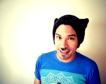 Boxy Black and Rainbow Speckled Cat Ear Hat-Adult-Handknit