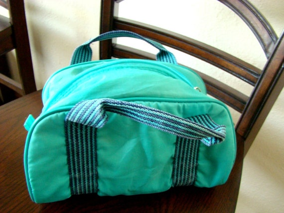 Seafoam and Blue Mint Green Duffel Purse/Craft Bag-Vintage 80s