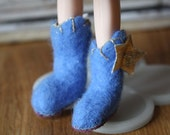 Hand Felted Bluebell blue boots - for Blythe or similar