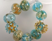 Mermaid - Set of (10) Glass Lampwork Beads in Turquoise and Amber - Raisin Mountain