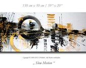 "Abstract painting on canvas, modern contemporary art 59"" x 20"" textured with gold artist decoration wall"