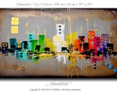 "Abstract painting 39"" x 20"" on canvas, modern contemporary art, artwork, decoration, color, abstract cityscape, skyline"