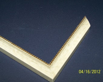 ONE 16 x 20 Ready to Ship Picture Frame ~ Antique White with a Gold inner lip ~ 1 inch Wide Profile