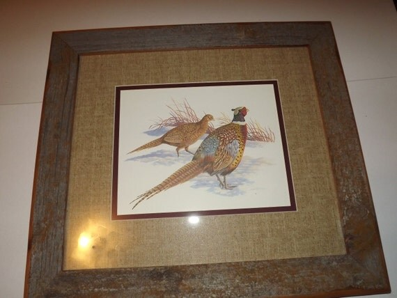 Custom Picture Frame / / 14x16 Handcrafted Barnwood Frame with Vintage Pheasant Print by Louis Raymer