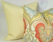 Pillow Cover . Yellow Horizontal Ticking Stripe . 18 x 18 or 20 x 20