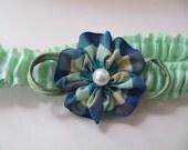 Satin garter mint green, blue and green plaid ribbonwork, wedding lingerie, green bridal garter, bridal shower gift, prom, pearls