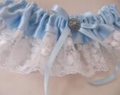 Blue Bridal Garter, blue satin wedding garter, white vintage lace, gold trimmed button, bridal shower, something blue