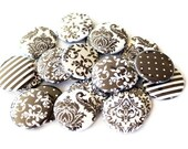 Black & White Buttons - Damask Buttons - Set of 20 Flatback Buttons