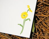 Yellow Daisy Letterpress Flower Notecards (Set of 8)