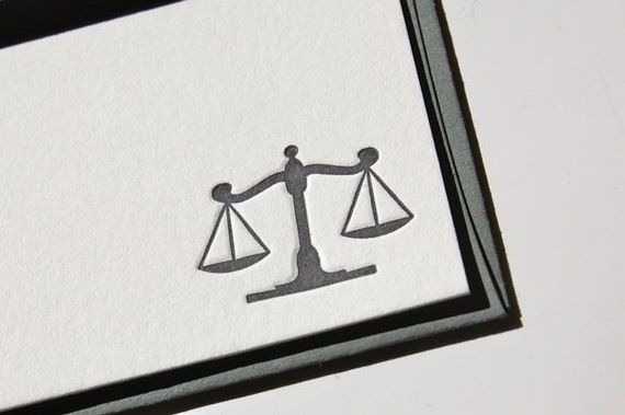 Lawyer Scales of Justice Legal Letterpress Notecards (Set of 8)