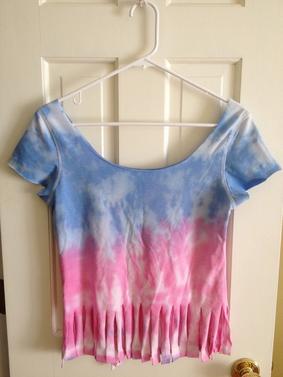 Red and Blue Tie Dye Fringe T-shirt