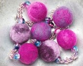 10 pounds off sale - hand felted and bead woven necklace in shades of pink purple and lilac