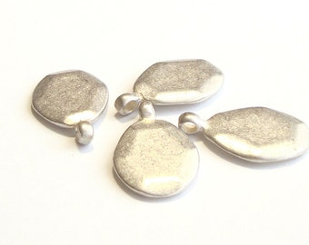4 Flat Faceted Tear Drop Sterling Silver Charms --23 mm