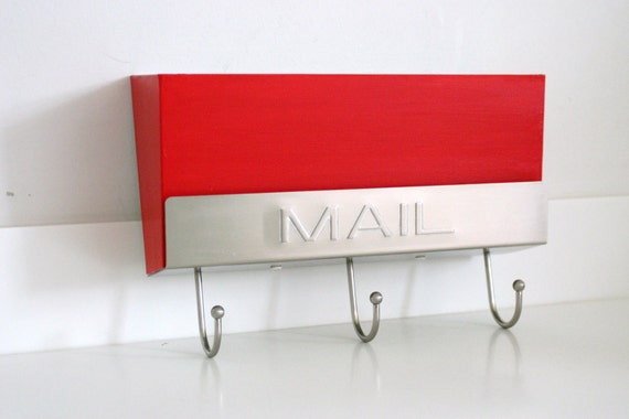 Vintage Red Mail Box with Key Hooks