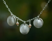 """Phoebe 18"""" silver necklace with 5 fingerprint charms"""