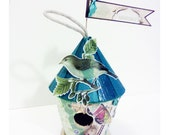 """Hand crafted Turquoise Wooden Bird House altered art """"Adorable"""" message"""