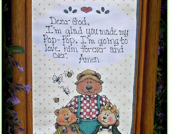 Hand Printed 5 x 7 Oak Framed Dear God I'm glad You Made My Pop Pop..Grandpa gift