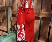 Lively red toddler pants - little girls pants - Suspender pants - Summer pants