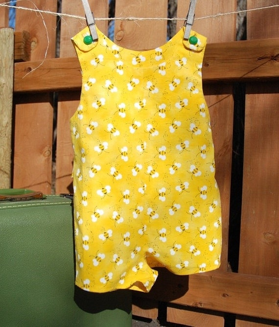 Busy Bee Romper - Childs romper - Toddler summer outfit - OOAK