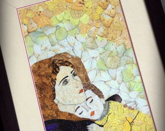 Madonna and Child, real butterfly wing, unique framed art, 8x12