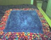 Soft Fuzzy Blue Dog/Cat Blanket/Bed Shiny Blue With Pastel Pom Pom Fringe