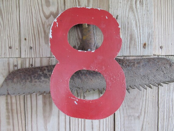 Primitive Industrial Aluminum Rustic Metal Tin Number 8 Eight Red Painted Vintage Sign