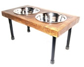 """Modern Rustic Elevated Dog Feeder 8"""" Tall Stainless Steel Bowls Included"""