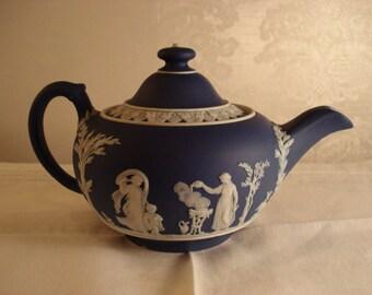 Antique Wedgwood Cobalt Dip Jasperware  Small Teapot